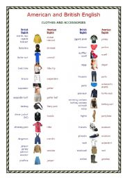 English Worksheets: British and American English: Clothes