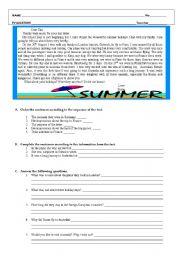 English Worksheet: Test about Summer holidays