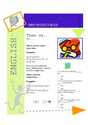 English Worksheet: Common Mistakes 1 Then vs than