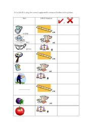 English Worksheets: units of measure