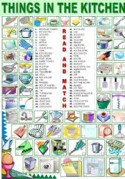 The Kitchen worksheet: things in the kitchen