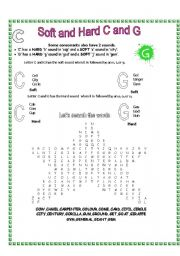 Printables Hard And Soft G Worksheets soft g worksheets davezan english and hard c g