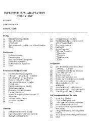English Worksheets: Accommodations Checklist