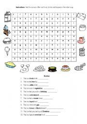 English worksheet: Food letter soup