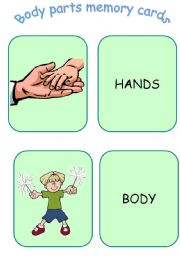 English Worksheets: Body parts memory cards - part 1 of 2