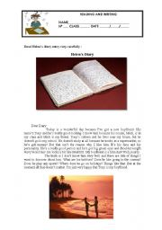 English Worksheet: READING COMPREHENSION AND WRITING -