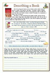 English Worksheet: Describing a Book