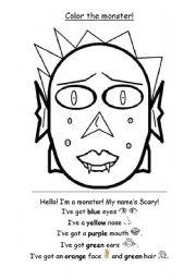 English Worksheet: Monster Color - verb �have got�, colors, parts of the face