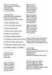 English worksheet: Nursery Rhymes