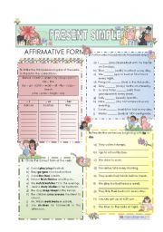 English Worksheet: Present Simple - affirmative form