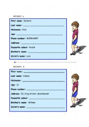 English worksheet: Pair work - personal information (boys)