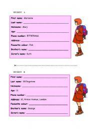 Pair work - personal information (girls)