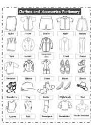CLOTHES AND ACCESORIES PICTIONARY