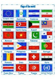 English Worksheet: FLAGS OF THE WORLD PART 3