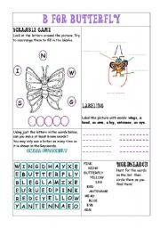 English Worksheets: B for BUTTERFLY