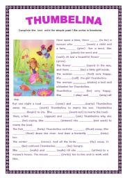 English teaching worksheets Thumbelina