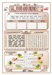 English Worksheet: Food and drinks(part one)