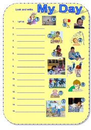 English Worksheets: My day #2