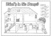 English Worksheet: What�s in the house? (2 pages)