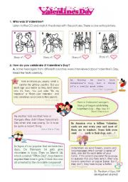 English Worksheet: Celebrating Valentine´s Day  -- a lesson plan including listening + reading + writing activities