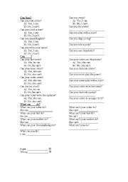 English worksheet: Can/Can´t step by step worksheet