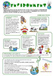 English Worksheet: ENVIRONMENTAL PROBLEMS: some SOLUTIONS