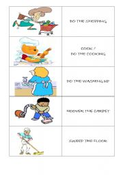 English Worksheets: HOUSEHOLD CHORES FLASH CARDS