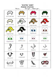 English Worksheets: WANTED- Revison  face parts-Two pages
