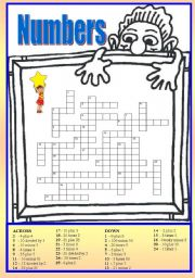 English Worksheet: Crossword number 0-100