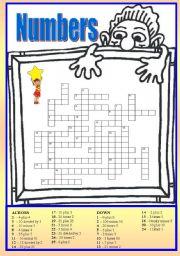English Worksheets: Crossword number 0-100