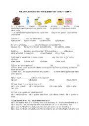 English teaching worksheets: Multiple choice Multiple Choice Test Elementary