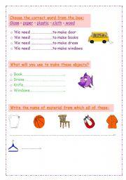 English Worksheets: materials