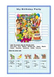 English Worksheet: My Birthday Party