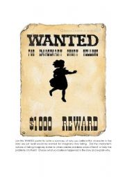 English Worksheet: Wanted Poster Summary Starter