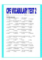 English Worksheet: CPE VOCABULARY TEST 2