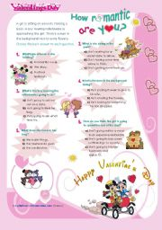 English Worksheet: Valentine´s Day QUIZ  -  How Romantic are you?  - for all ages and levels...