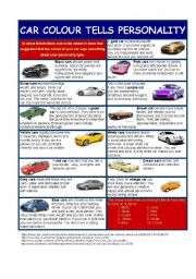 English Worksheet: Car colour tells personality