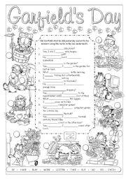 English Worksheet: What did Garfield do yesterday? (2)