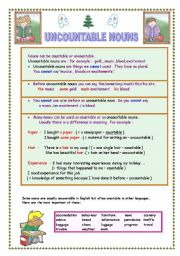 English Worksheets: UNCOUNTABLE NOUNS (2 pages with answer key )
