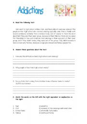 Worksheets For Addicts: English teaching worksheets  Addictions,