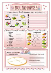 English Worksheet: Food and drinks 2(part two)