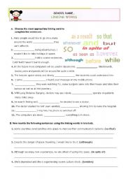 English Worksheet: LINKING WORDS  -  Exercises for Advanced or Upper Intermediate students