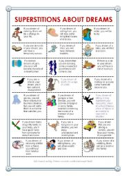 English Worksheet: Superstitions about dreams
