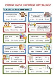 English Worksheet: PRESENT CONTINUOUS OR PRESENT SIMPLE?