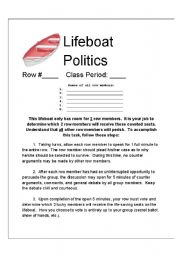 English Worksheet: Lifeboat Politics Ethics Activity