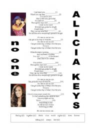English Worksheets: No one (Alicia Keys)