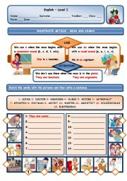English Worksheet: INDEFINITE ARTICLE AND JOBS