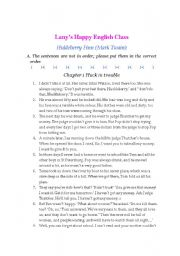 English Worksheet: Huckleberry Fin Storytelling