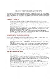 Etiquette worksheets