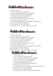 English Worksheet: Junk Food Questoinnaire